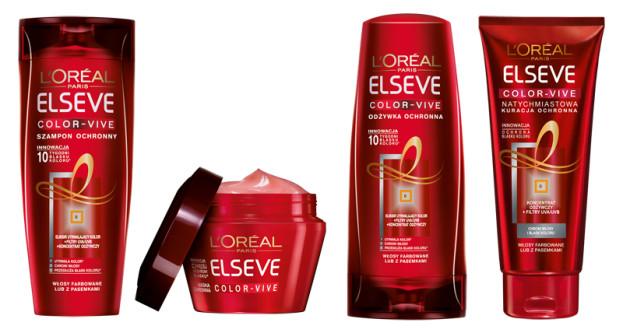 L'Oreal Elseve, Color-Vive, szampon (Cena: 12 zł, 250 ml lub 16 zł, 400 ml), odżywka (Cena: 12 zł, 200 ml), kuracja (Cena: 20 zł, 200 ml), maska (Cena: 20 zł, 300 ml)