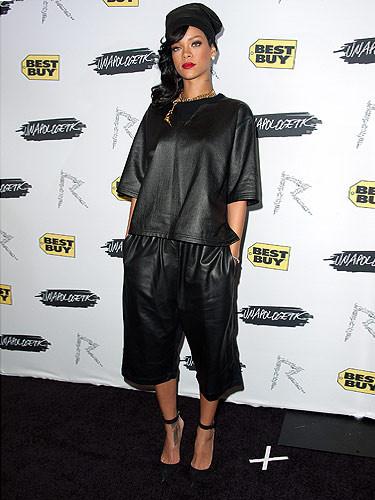 Trendy. Skórzane ubrania.  Rihanna