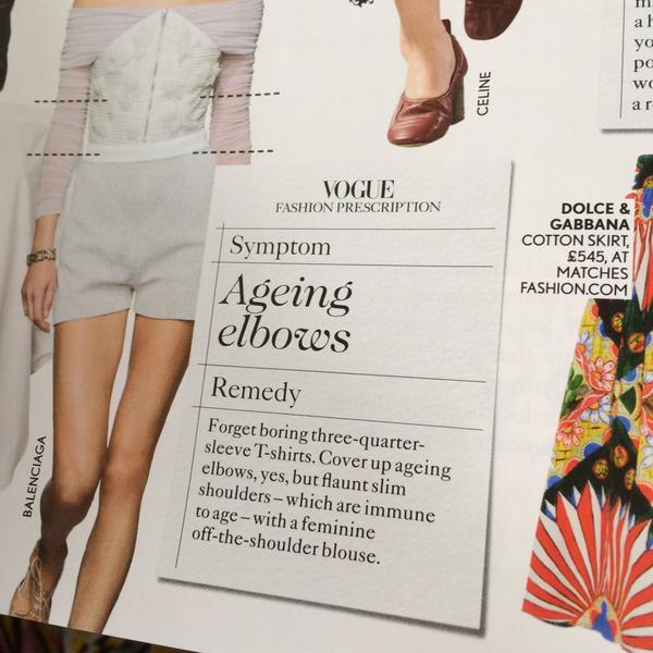 Brytyjski Vogue radzi ukrywanie starzejących się łokci