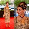 Giovanna Battaglia w sukience Dolce & Gabbana z koroną ze złotych agrafek