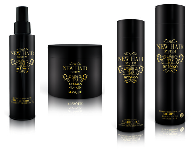 Artego, New Hair System, fluid termoochronny (Cena: 79 zł, 150 ml), maska (Cena: 79 zł, 250 ml), odżywka (Cena: 59 zł, 200 ml), szampon odżywczy bez SLS (Cena: 59 zł, 250 ml)