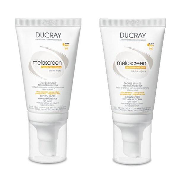 Ducray, Melascreen Legere krem SPF 50+ do skóry normalnej i mieszanej (Cena: 52 zł, 40 ml), Melascreen, Riche krem SPF 50+ do skóry suchej (Cena: 58 zł, 40 ml)