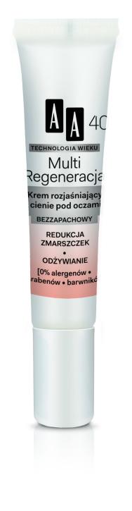 Krem rozjaśniający cienie pod oczami, Multi-Regeneracja, AA 40+ - z witaminą B3, która pobudza mikrokrążenie i zapobiega cieniom (19 zł)
