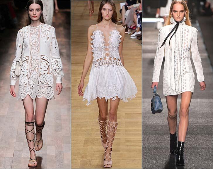 Romantyczna, biała koronka na pokazach domów mody Valentino, Chloé i Louis Vuitton