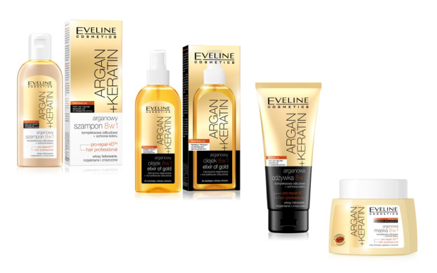 Eveline, Argan + Keratin 8 w 1: szampon (Cena: 12,99 zł, 150 ml), odżywka (Cena: 19,99 zł, 200 ml), maska (Cena: 24,99 zł, 150 ml), olejek (Cena: 24,99 zł, 500 ml)