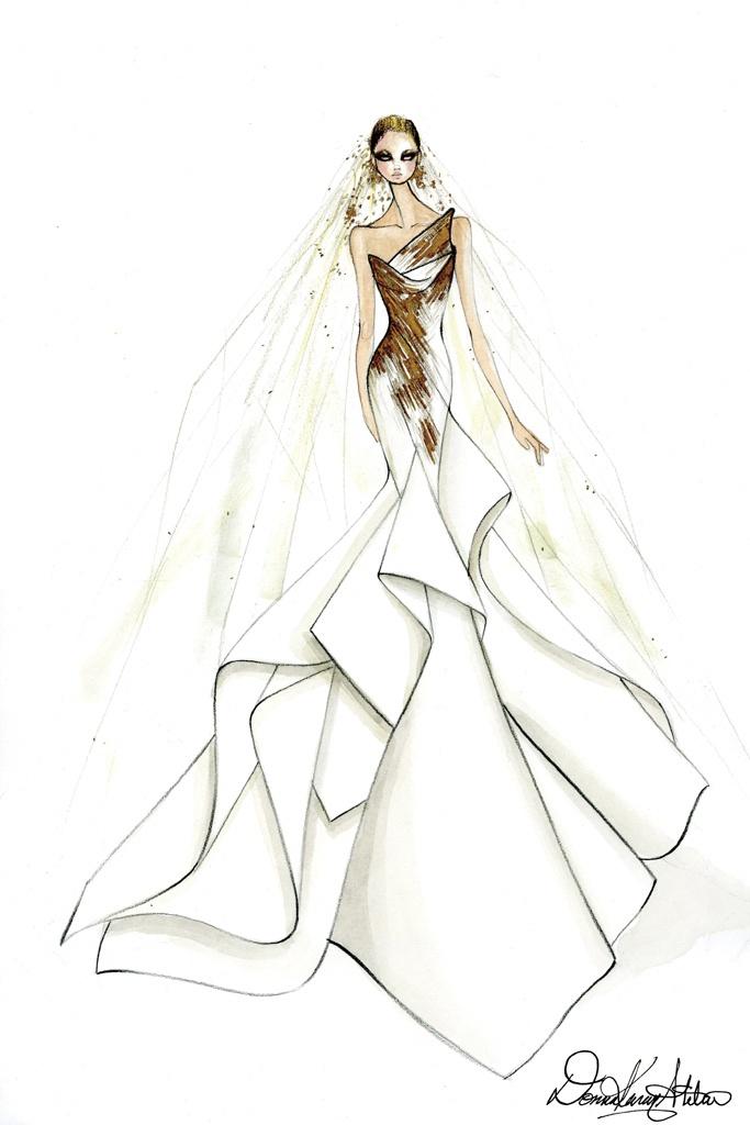 Donna Karan zaprojektowała suknię w stylu złotej ery Hollywood z ogromnym trenem.