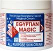 Egyptian Magic, 100% naturalny krem uniwersalny, może być używany jako: krem odżywczy do suchej skóry, krem przeciwzmarszkowy i eliminujący blizny, znakomity krem na takie dolegliwości skórne jak egzema czy łuszczyca, krem natłuszczający na łokcie, pięty, stopy, balsam na usta, odżywka do włosów, krem pielęgnujący dla dzieci i niemowląt, odżywka do paznokci, na ukąszenia owadów, balsam do masażu, do oczyszczania twarzy (Cena: 149 zł, 118 ml)
