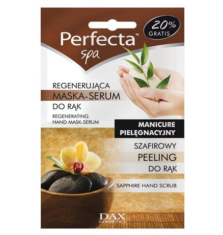 Dax Cosmetics, Perfecta SPA, szafirowy peeling + regenerująca maska - serum do rąk  (Cena: 3 zł, 2 x 6 ml)