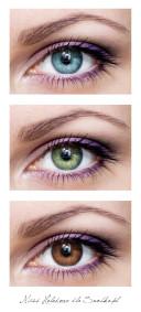 Zestawienie makijażu z 3 głównymi kolorami oczu.