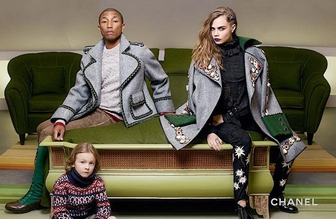 Cara i Pharrell noszą wełniane płaszcze i kurtki inspirowane stylem Heidi i bawarskiego trachtu.
