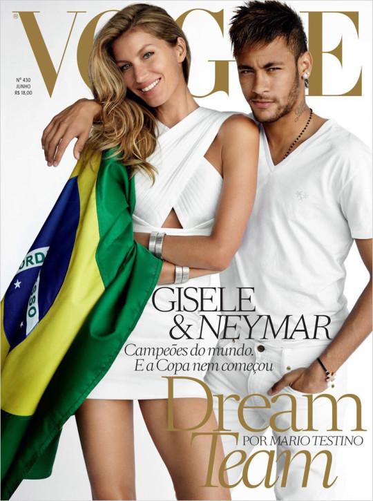 Gisele Bundchen i Neymar na okładce brazylijskiego Vogue (czerwiec 2014)