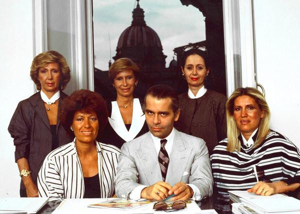Karl Lagerfeld z siostrami Fendi, 1983 rok