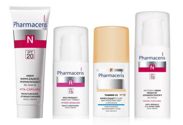 Pharmaceris, VITA-CAPILARIL Krem nawilżająco-wzmacniający do twarzy SPF 20 (Cena: 40 zł, 50 ml), HYDRO-ROSALGIN Multikojący krem do twarzy dla skóry tłustej, mieszanej i wrażliwej SPF 15 (Cena: 40 zł, 30 ml), Nawilżający fluid antyoksydacyjny z sylimaryną SPF 20 (Cena: 39 zł, 30 ml), MAGNI-CAPILARIL Aktywny krem przeciwzmarszczkowy do twarzy SPF 10 (Cena: 43 zł, 50 ml)