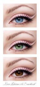Zestawienie makijażu z trzema podstawowymi kolorami oczu.
